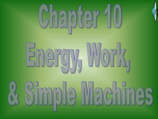 Chapter 10 Energy, Work,  & Simple Machines
