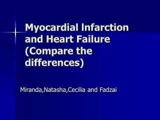 Myocardial lnfarction and Heart Failure  (Compare the  differences)