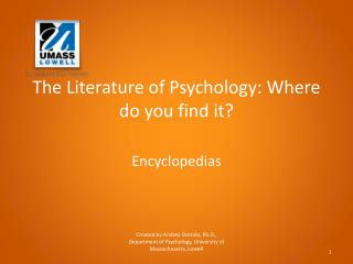 The Literature of Psychology: Where do you find  it?