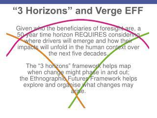 """""""3 Horizons"""" and Verge EFF"""
