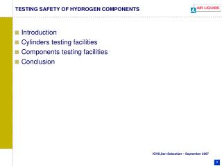 TESTING SAFETY OF HYDROGEN COMPONENTS