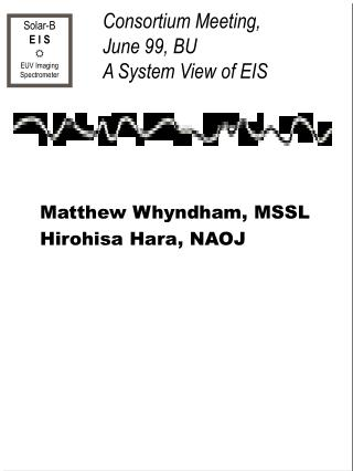 Consortium Meeting,  June 99, BU  A System View of EIS