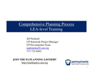 Comprehensive Planning Process LEA-level Training