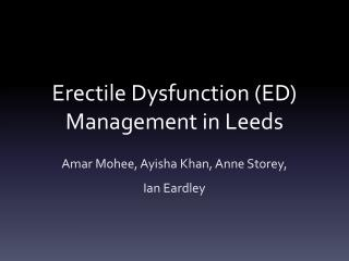 Erectile Dysfunction (ED) Management in Leeds