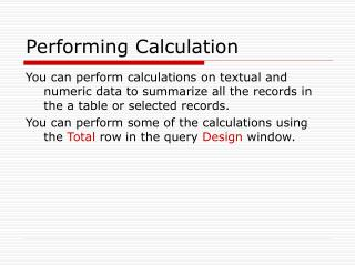Performing Calculation