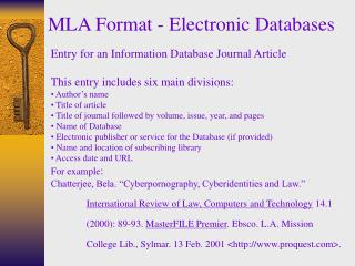 MLA Format - Electronic Databases