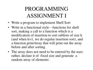 PROGRAMMING ASSIGNMENT I