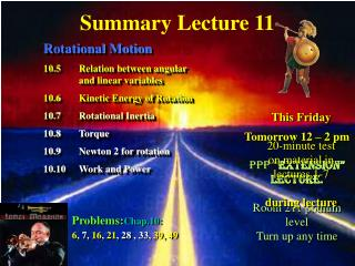 Summary Lecture 11