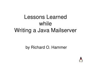 Lessons Learned while Writing a Java Mailserver