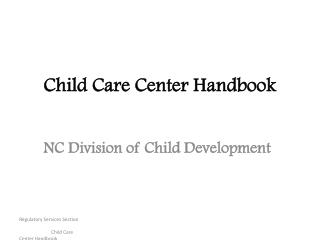 Child Care Center Handbook
