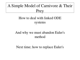 A Simple Model of Carnivore & Their Prey
