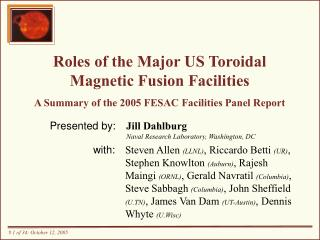Roles of the Major US Toroidal Magnetic Fusion Facilities   A Summary of the 2005 FESAC Facilities Panel Report