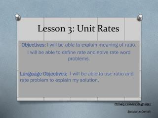 Lesson 3: Unit Rates