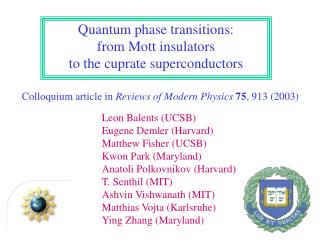 Colloquium article in  Reviews of Modern Physics 75 , 913 (2003)