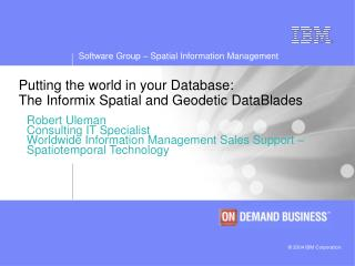 Putting the world in your Database: The Informix Spatial and Geodetic DataBlades