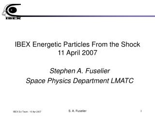 IBEX Energetic Particles From the Shock 11 April 2007