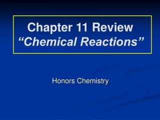 "Chapter 11 Review ""Chemical Reactions"""