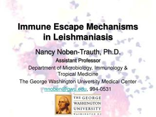 Immune Escape Mechanisms in Leishmaniasis
