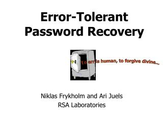Error-Tolerant Password Recovery