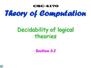 Decidability of logical theories