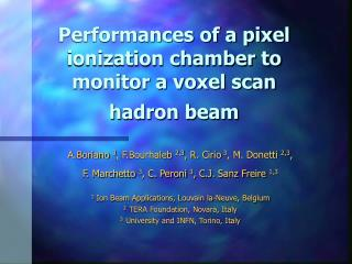 Performances of a pixel ionization chamber to monitor a voxel scan hadron beam