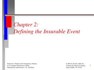 Chapter 2: Defining the Insurable Event