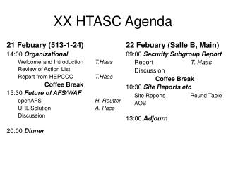 XX HTASC Agenda