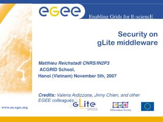 Security on  gLite middleware