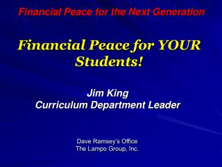 Financial Peace for YOUR Students!