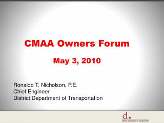 CMAA Owners Forum May 3, 2010