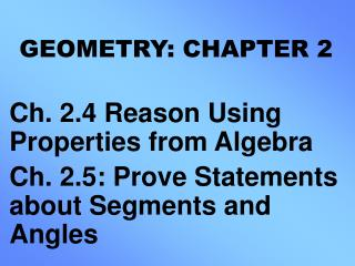 GEOMETRY: CHAPTER 2