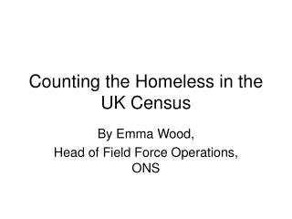 Counting the Homeless in the UK Census
