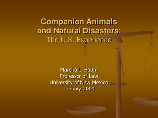 Companion Animals  and Natural Disasters :  The U.S. Experience