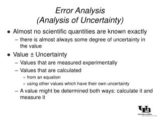 Error Analysis (Analysis of Uncertainty)