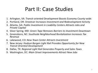 Part II: Case Studies