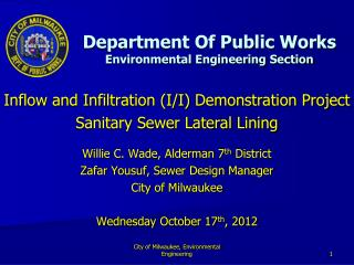 Department Of Public Works Environmental Engineering Section