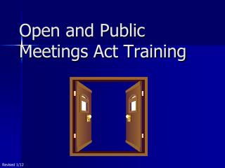 Open and Public Meetings Act Training