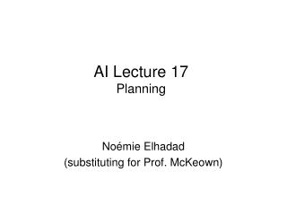 AI Lecture 17 Planning