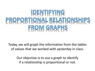 Identifying  Proportional Relationships  From graphs