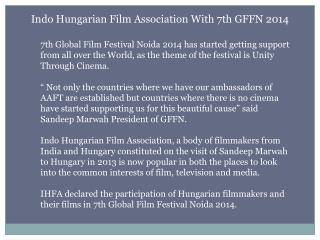 Indo Hungarian Film Association With 7th GFFN 2014