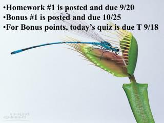 Homework #1 is posted and due 9/20 Bonus #1 is posted and due 10/25