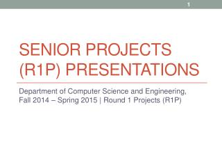 Senior projects (R1p) presentations
