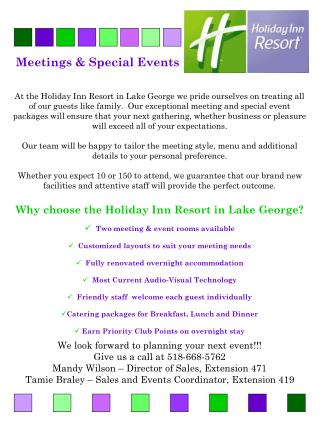 Meetings & Special Events