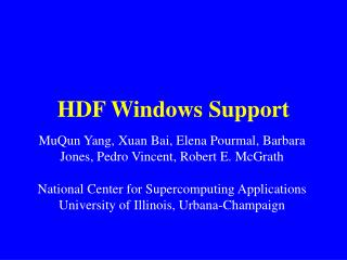 HDF Windows Support