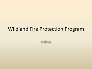 Wildland Fire Protection Program