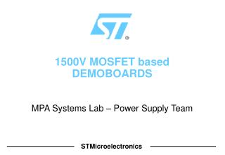 1500V MOSFET based DEMOBOARDS