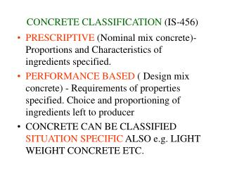 CONCRETE CLASSIFICATION  (IS-456)