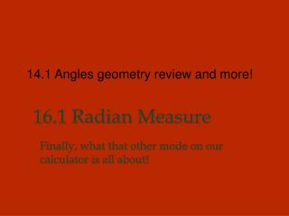1 6.1 Radian Measure