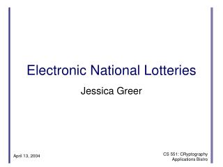 Electronic National Lotteries