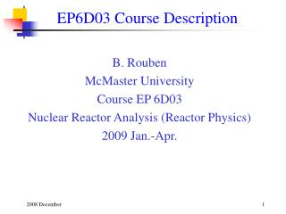 EP6D03 Course Description